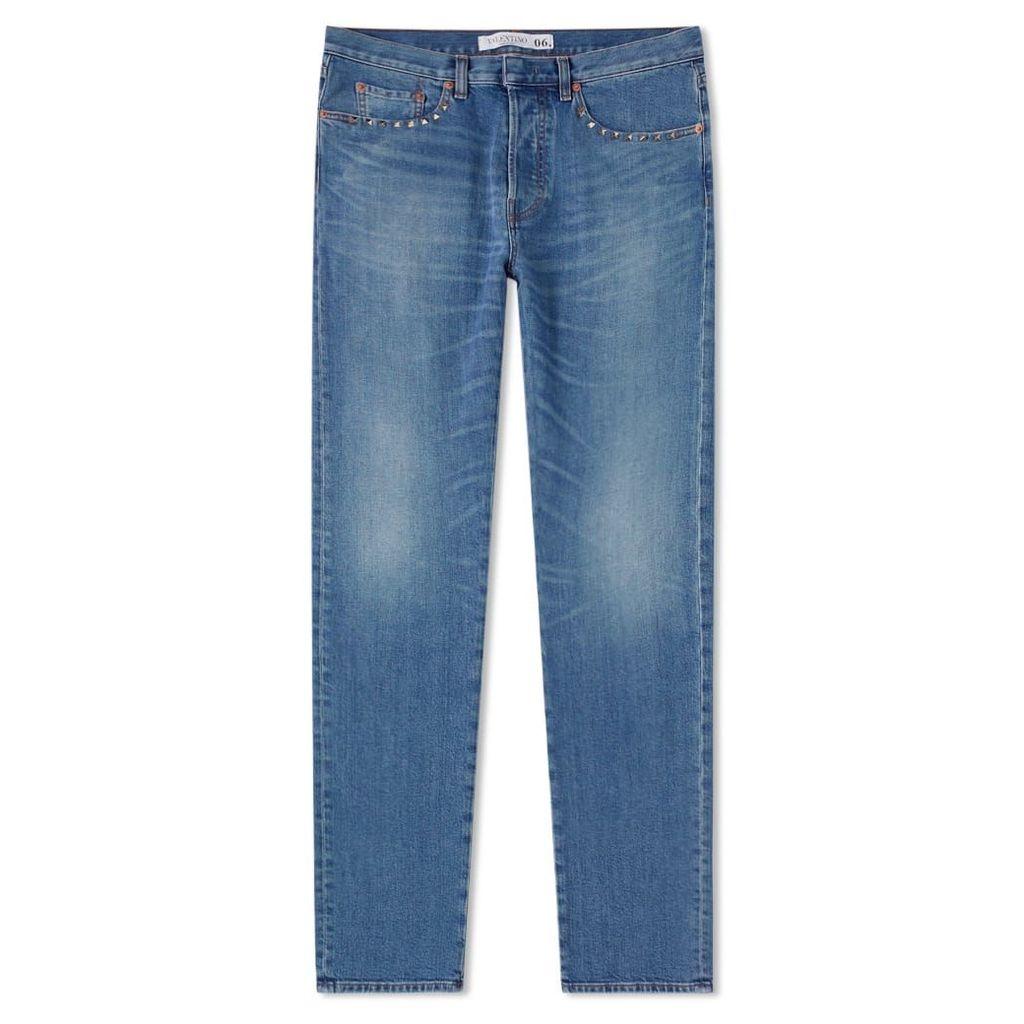 Valentino Rockstud Untitled Pocket Detail Washed Jean Blue