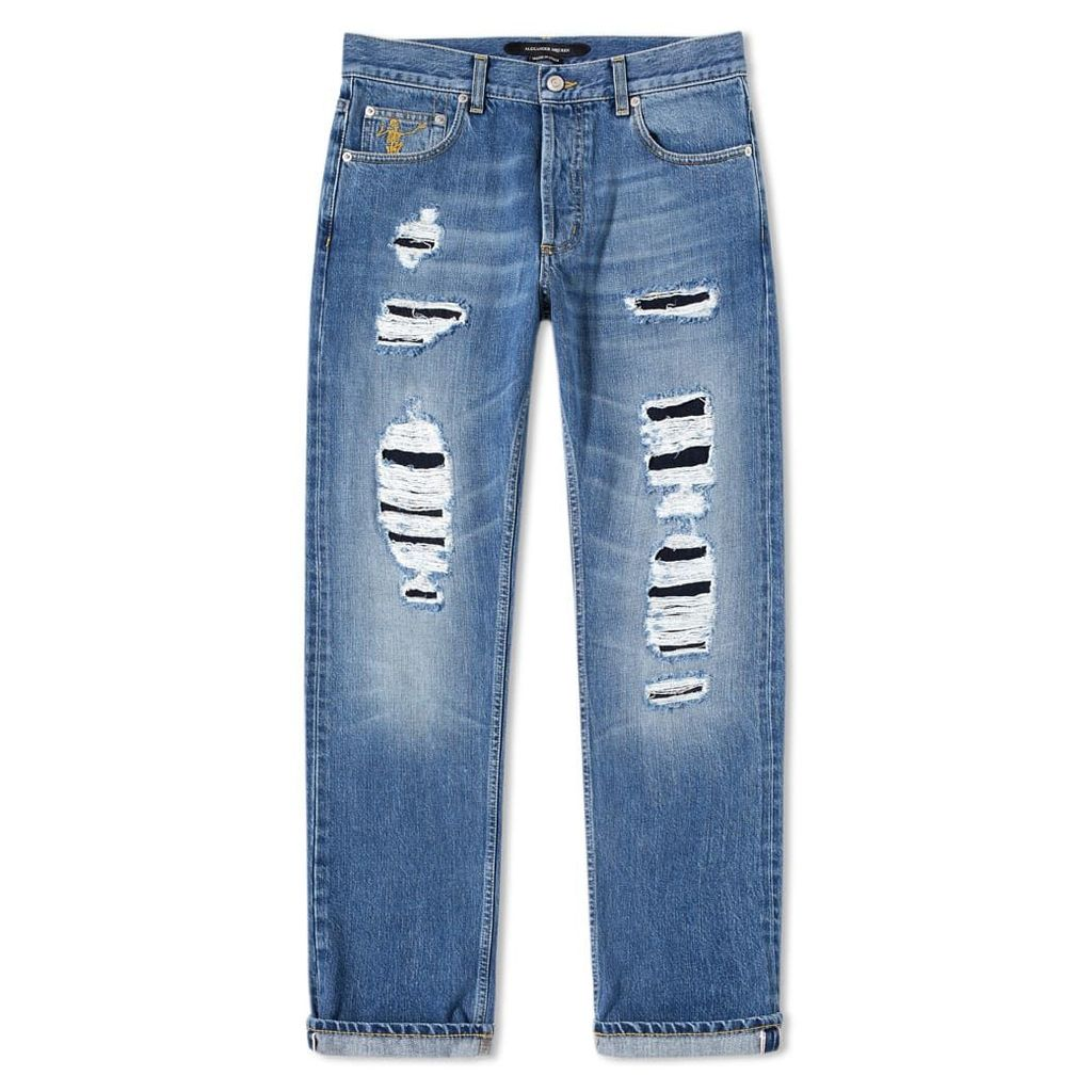 Alexander McQueen Distressed Slim Fit Jeans Blue Washed