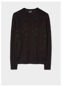 Men's Black Multi-Coloured Stitch Detail Sweater