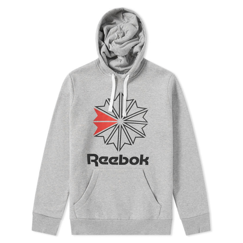 Reebok Retro Starcrest Popover Hoody Medium Grey Heather & Black