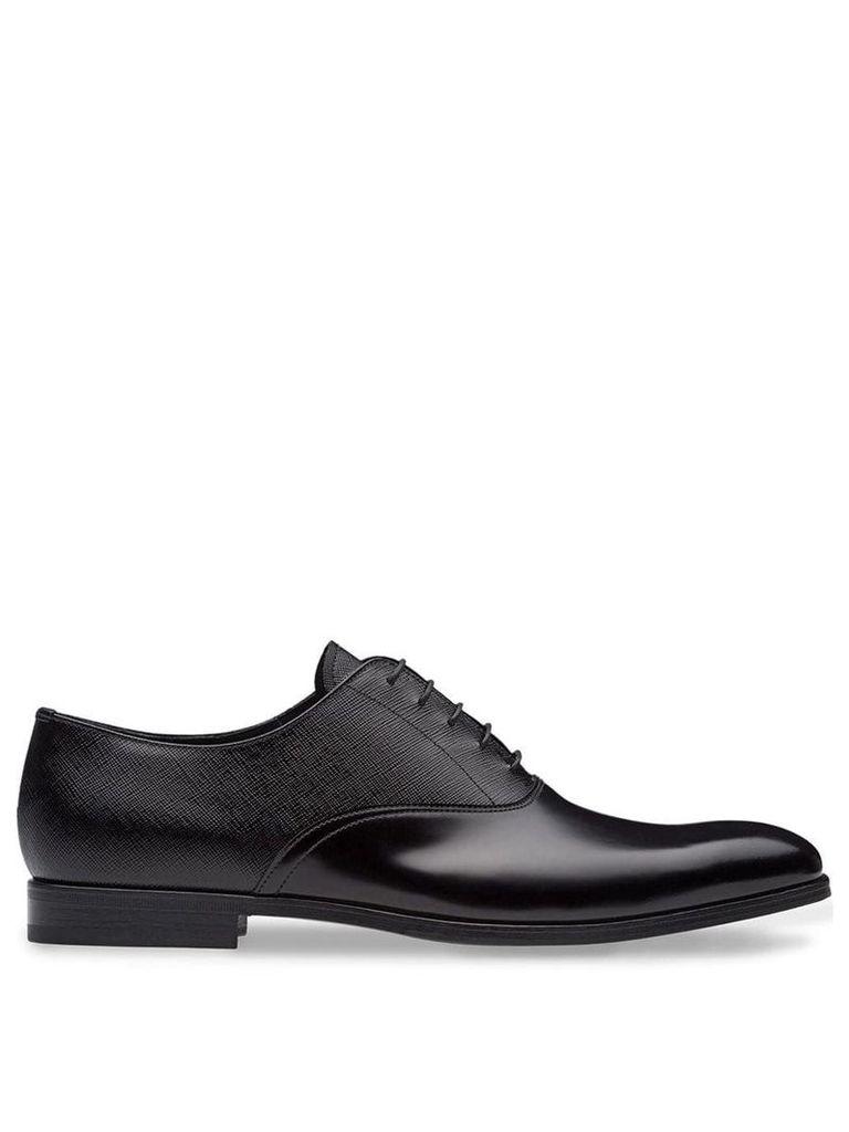 Prada dual-texture Oxford shoes - Black