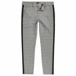Mens River Island Grey check skinny fit tape chino trousers