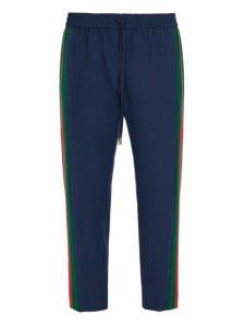 Gucci - Side Stripe Wool Blend Trousers - Mens - Blue