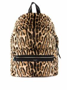 Saint Laurent fur leopard backpack - Brown