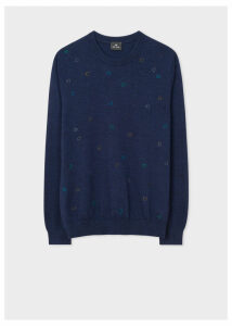 Men's Navy Merino Wool Embroidered-Spot Sweater