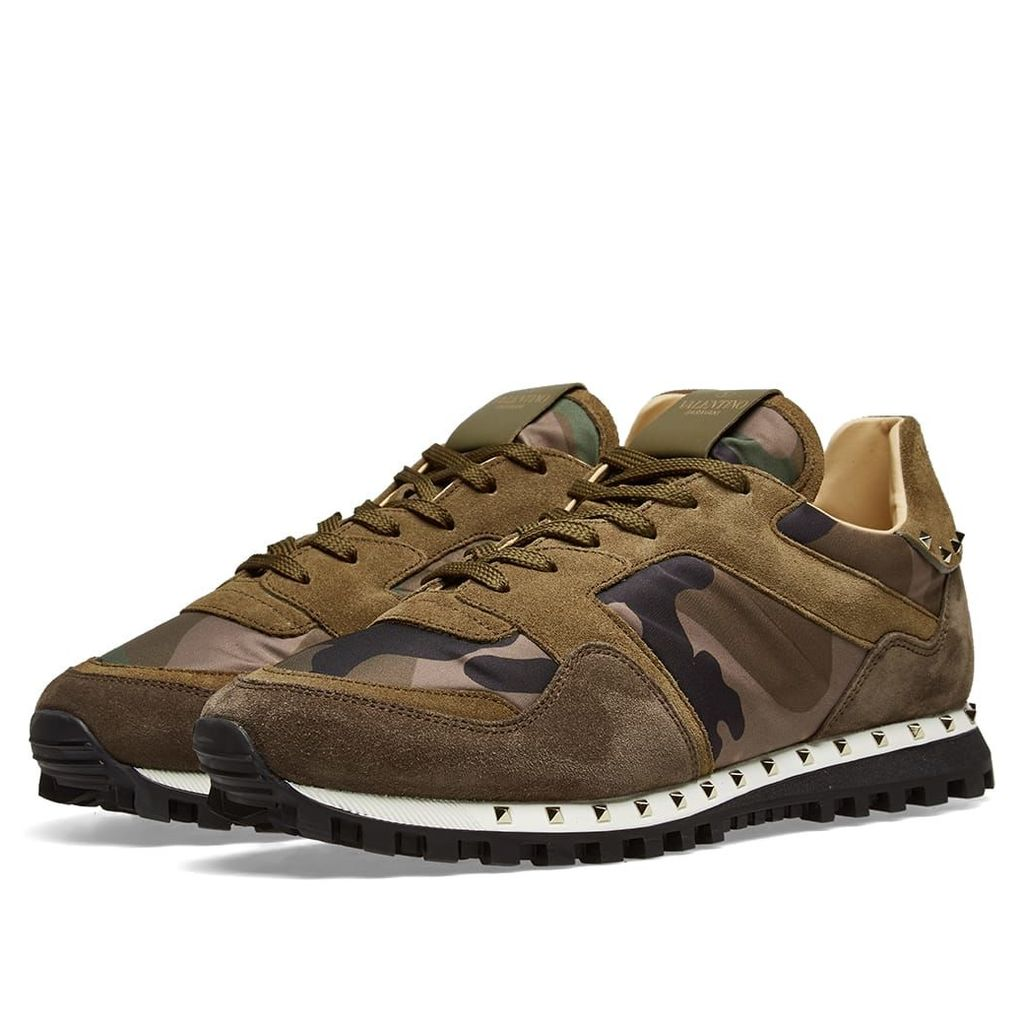 Valentino Stud Sole Rockrunner Sneaker Army Camo