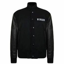 Versus Versace Leather Arm Bomber Jacket