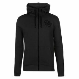 Fabric Embroidered Zip Through Hoodie