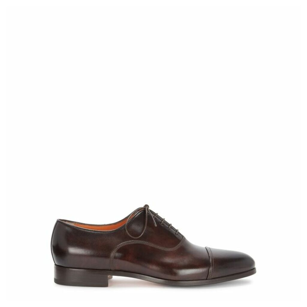 Santoni Kenneth Glossed Leather Oxford Shoes