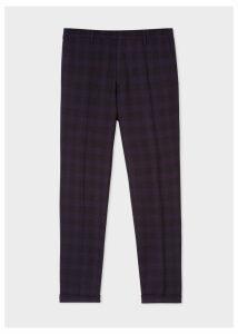 Men's Slim-Fit Purple And Black Jacquard Check Trousers