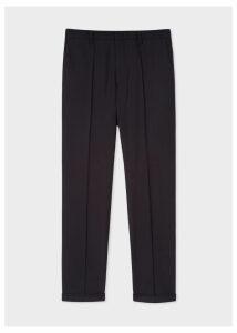 Men's Slim-Fit Dark Navy Wool Trousers