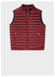 Men's Burgundy Quilted Down Gilet