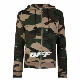 Off White Camouflage Zip Hooded Sweatshirt