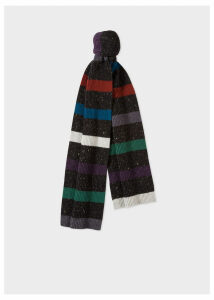 Men's Black Donegal Stripe Wool Scarf
