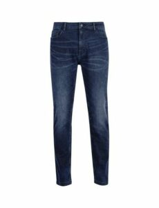 Mens Overdye Carter Tapered Fit Stretch Jeans, Blue