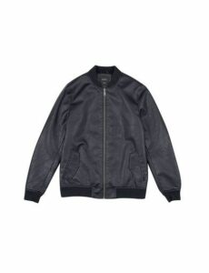 Mens Black Pu Bomber Jacket, Black