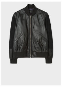 Men's Black Leather Bomber Jacket With Suede Panels