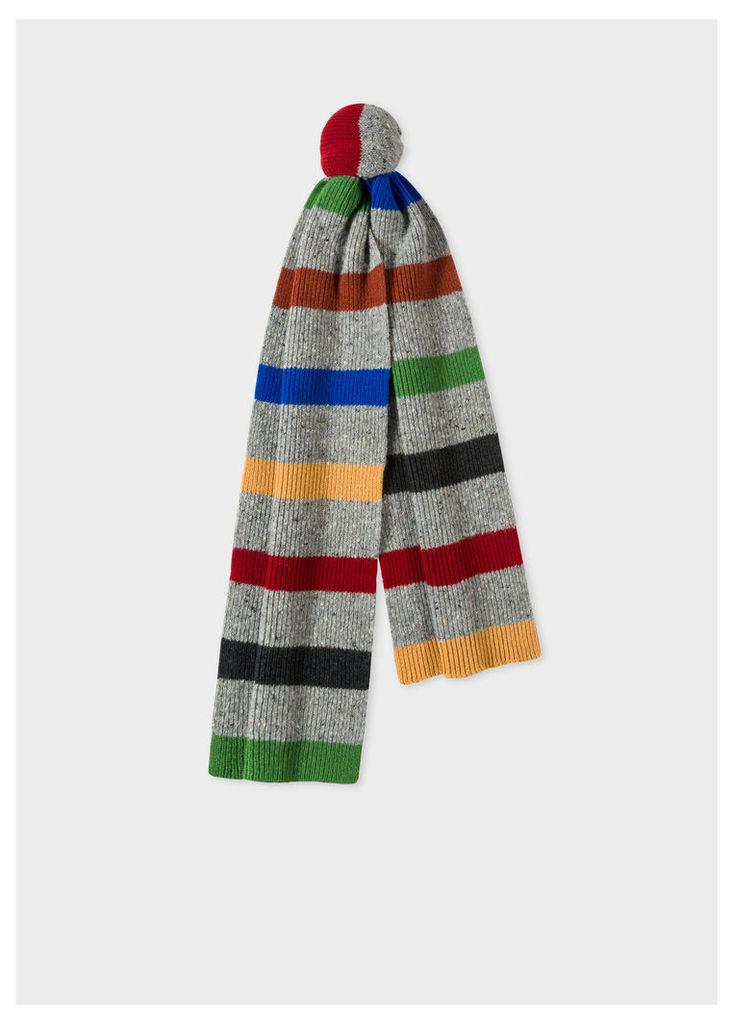 Men's Grey Donegal Stripe Wool Scarf