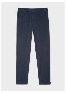 Men's Navy Cotton-Blend Drawstring Trousers