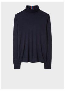 Men's Dark Navy Merino Wool Roll Neck Sweater