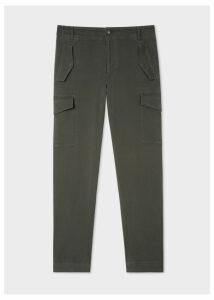 Men's Regular-Fit Dark Green Stretch-Cotton Pocket Trousers