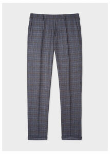 Men's Slim-Fit Blue Plaid Wool Trousers