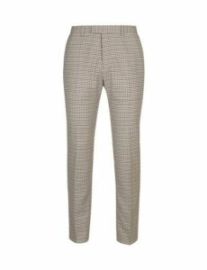 Mens Stone Slim Fit Checked Trousers, STONE