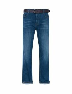 Mens Mid Blue Logan Straight Fit Belted Jeans, Blue