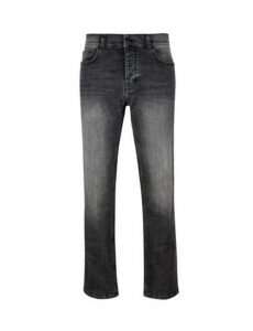 Mens Washed Grey Logan Straight Fit Jeans, Grey