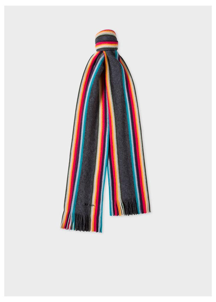 Men's Charcoal Grey 'Artist Stripe' Band Merino Wool Scarf