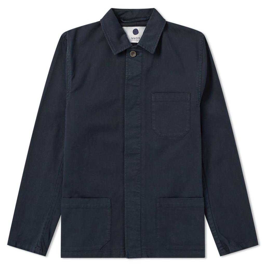 NN07 Garment Dyed Oscar Chore Jacket Navy Blue