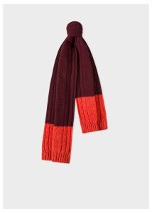 Men's Burgundy Cable-Knit Scarf With Contrasting Ends