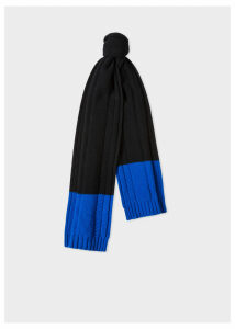 Men's Navy Cable-Knit Scarf With Contrasting Ends
