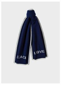 Men's Navy 'Peace & Love' Wool Scarf