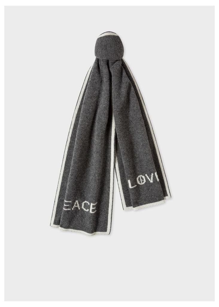 Men's Grey 'Peace & Love' Wool Scarf
