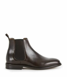 Reiss Tenor - Leather Chelsea Boots in Dark Brown, Mens, Size 12