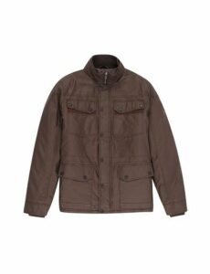Mens Chocolate Waxed Four Pocket Jacket, CHOCOLATE
