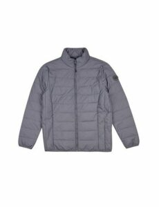 Mens Grey Lightweight Funnel Neck Padded Jacket, Grey