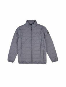 Mens Grey Lightweight Funnel Neck Padded Jacket, Grey