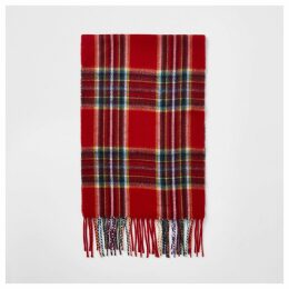 Mens River Island Red tartan check scarf