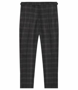 Reiss Trekker - Slim Fit Brushed Checked Trousers in Navy, Mens, Size 38