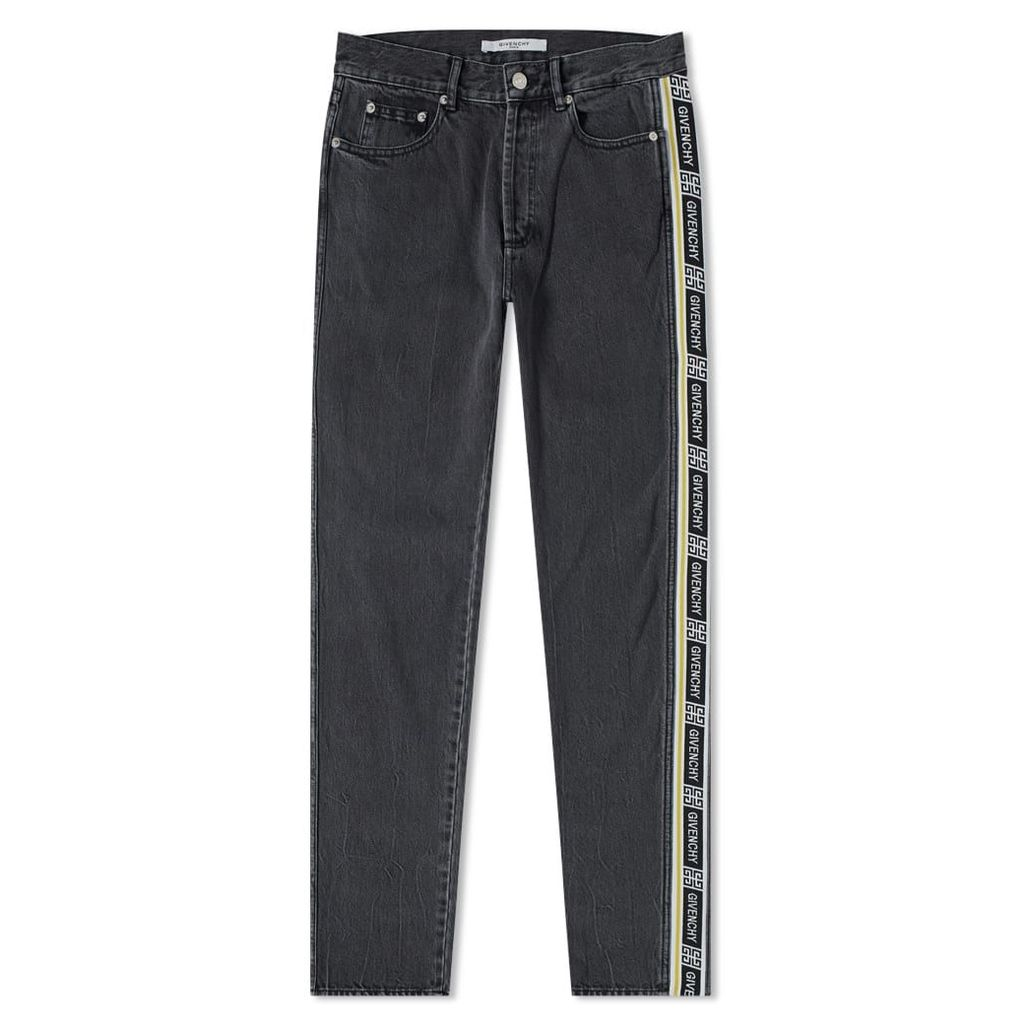 Givenchy Logo Taping Slim Jean Washed Black
