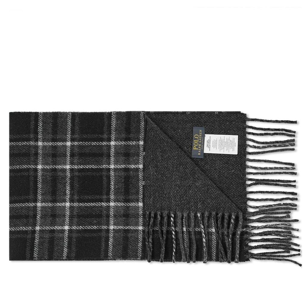 Polo Ralph Lauren Wool Plaid Scarf Black & Charcoal