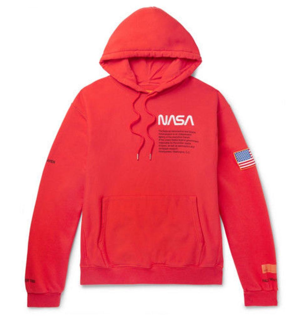 c6e4bb85726c Heron Preston - + Nasa Embroidered Printed Cotton-jersey Hoodie - Red