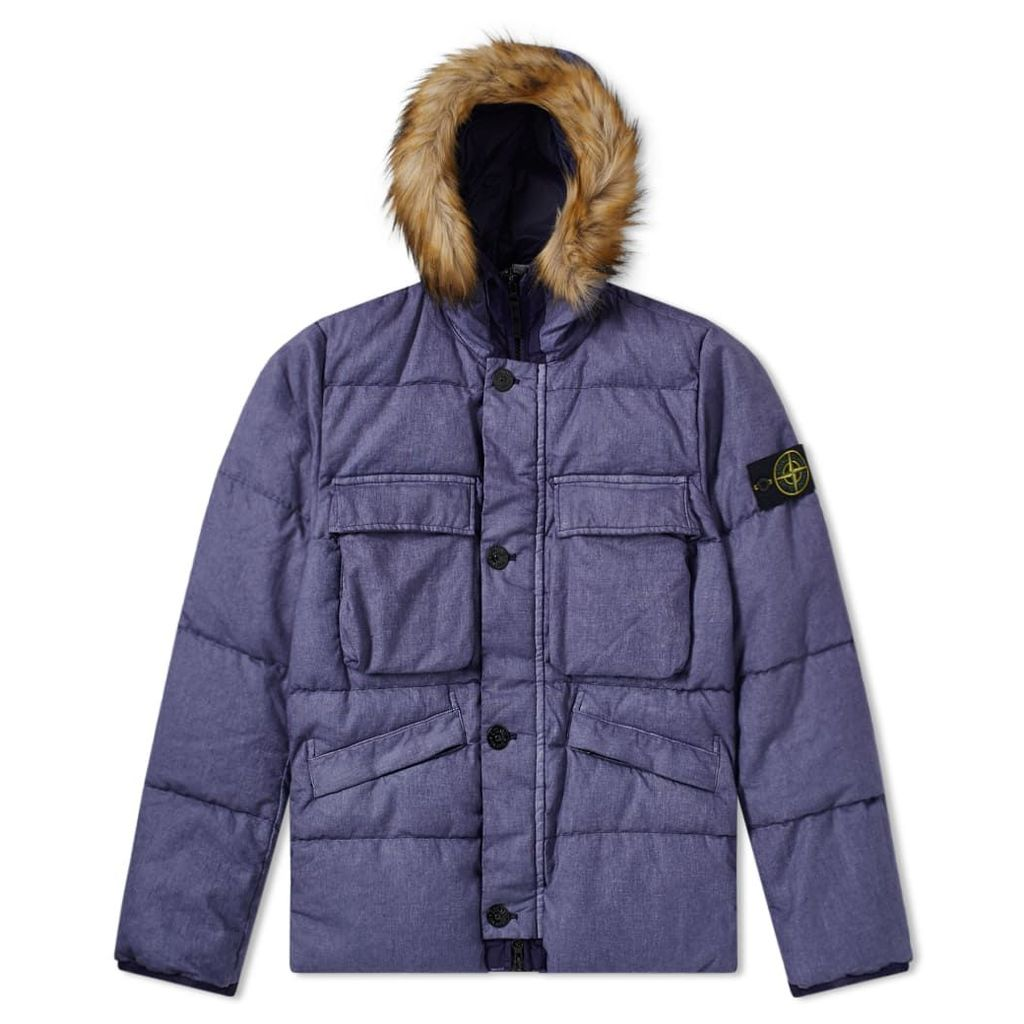Stone Island Lino Resinato Down Filled Hooded Jacket Ink