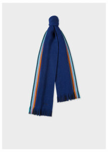 Men's Double-Face Blue Striped-Edge Wool Scarf