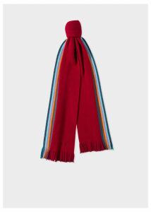 Men's Double-Face Red Striped-Edge Wool Scarf