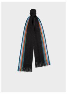 Men's Double-Face Black Striped-Edge Wool Scarf