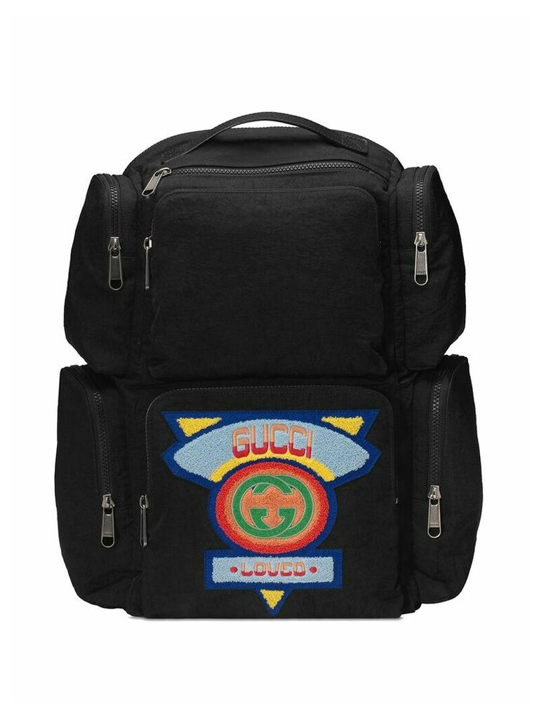 Gucci black Large backpack with Gucci '80s patch
