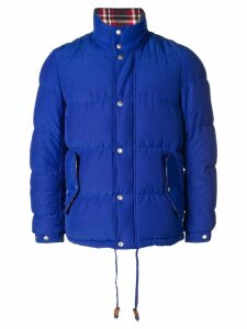 Comme Des Garçons Pre-Owned checked lining down jacket - Blue